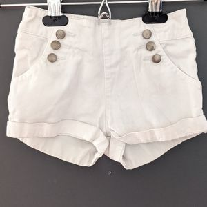 White shorts with button detail
